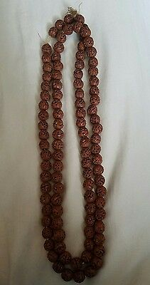 RARE 100 Antique Chinese Carved HEDIAO Nuts Fruit Pits Beads Necklace Buddhist
