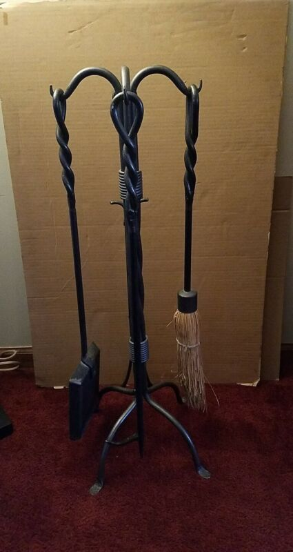 VTG.  FIREPLACE FORGED TOOL SET 4 TOOLS & STAND - HEAVY DUTY!