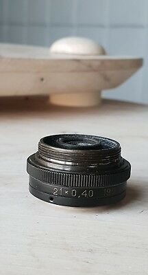 Soviet Vintage Objective Lens 21 X 0.40 190 For Microscope Lomo Zeiss Rms