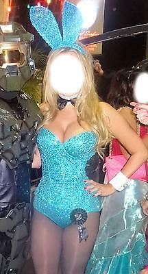 SEXY BLUE SEQUIN PLAYBOY BUNNY TRASHY LINGERIE COSTUME WITH EARS AND TAIL $500