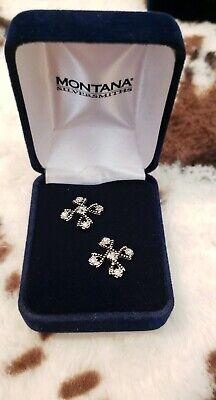 NEW Montana Silversmiths Antiqued Crystal Braided Cross Earrings ER2238