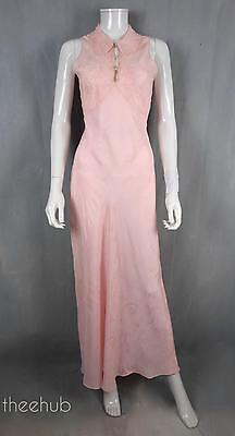 Pink Vtg 1930s Collar Embroidery Fine Bias Cut Silk Boudoir Night Gown Lingerie