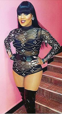 CRYSTAL AB Rhinestone BLACK MESH BODYSUIT/DANCE COSTUME/DRAG QUEEN/ Sz: - Crystal Queen Kostüm