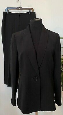 Kasper Women's Career Black 100% Polyester 2 PC Pant Suit Size 12 EUC, MSRP $280