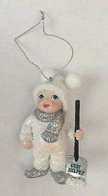"Kurt Adler Snow Kids Ornament Holding Shovel ""Best Helper"" New"