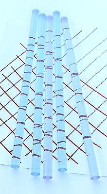 "5 Pc 1/2"" DIAMETER CLEAR BLUE FLUORESCENT ACRYLIC PLEXIGLASS LUCITE ROD 12"" LONG"