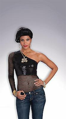 Hip Hop Black Sequin Mesh Top Ghetto Gutta (Ghetto Kostüme)