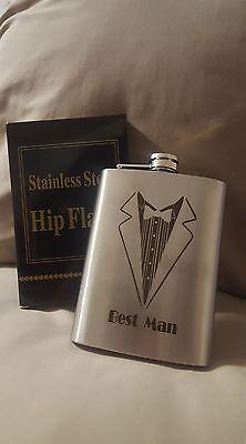 Flask Stainless Steel 8 oz Groomsman or Best man (Best Stainless Steel Flask)