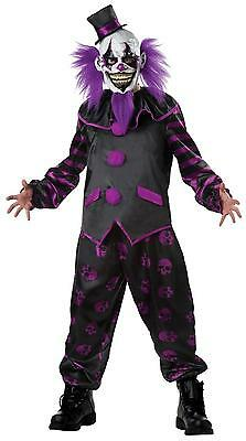 ADULT PURPLE BEARDED CLOWN EVIL SCARY COSTUME DRESS (Mr Evil Kostüm)