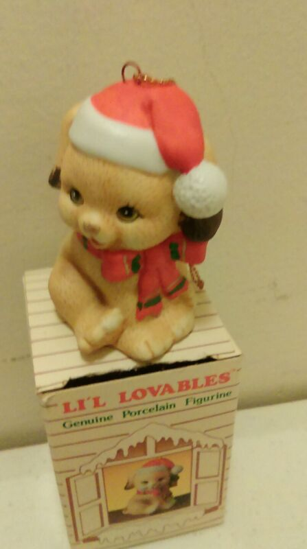 Russ Miniature Porcelain Little loveables Puppy Christmas Ornament with box
