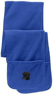 Black Lab Labrador Retriever Monogram Blue Pocket Scarf Fleece Puppy Dog Gift, used for sale  Shipping to Canada
