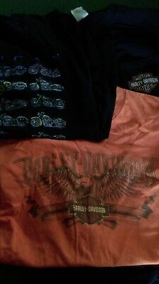 2 Harley Davidson T Shirts Size Medium 1 American Tradition Large Motorcycle Tee