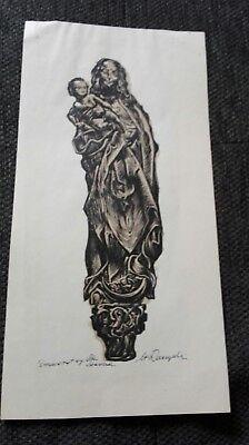Stanislaw Raczynski Holzdruck Madonna  Signiert