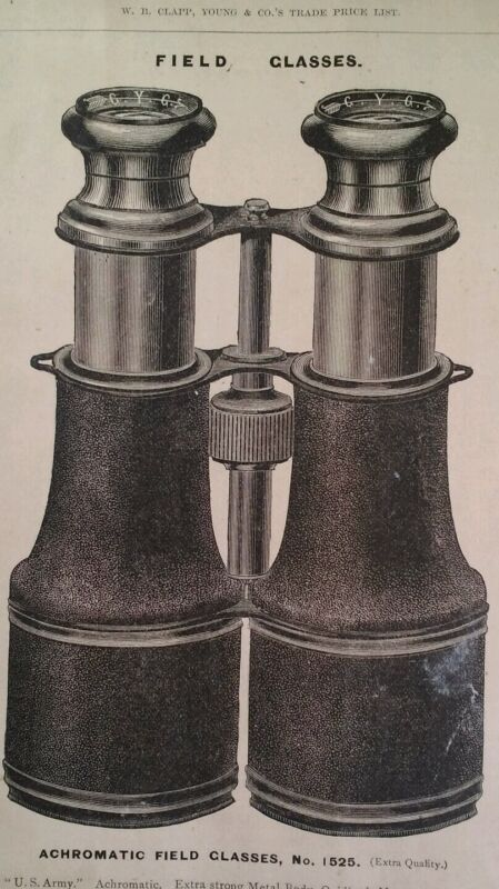 Binoculars Field Glasses Antique 1881 Catalog Page Clapp Chicago Rare U.S. Army
