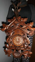 big original cuckoo clock black forest 8 day mechanical all in wood carwed