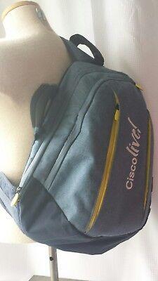 Cisco Live Over Shoulder Laptop BackPack intel logos blue yellow bag