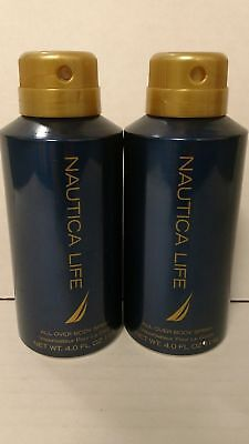 NEW 2 Pack Nautica Life Men All Over Body Spray (2 Pack x 4 oz) Fragrance