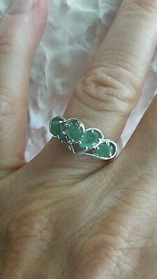 A++ALLURING NATURAL AAA GREEN COLUMBIAN PEAR STERLING 925 SILVER RING SIZE 6
