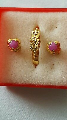 $999 24k Solid Gold Ring Size 6  With Pink Sapphire Pierced Earrings Set 24k Set Ring