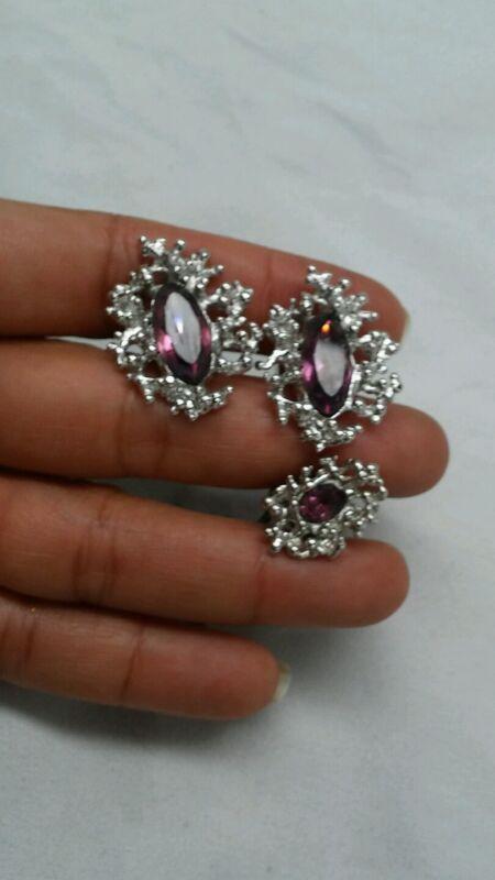 vtg Brutalist modernist purple rhinestone silver tone cufflinks tie tack set