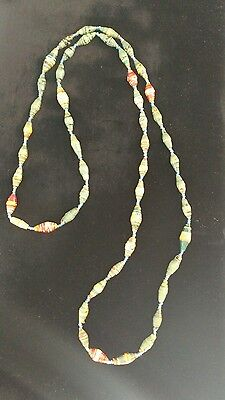 Paper Bead  necklace teal blue &yellow ivory and rust red,made in Uganda NWOT