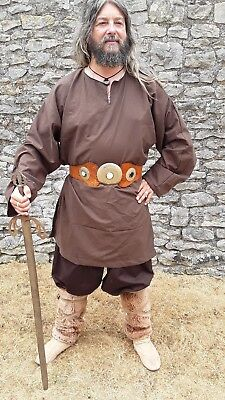 Viking, or Medieval style Tunic, Brown, LARGE, key hole neck side slits LARP