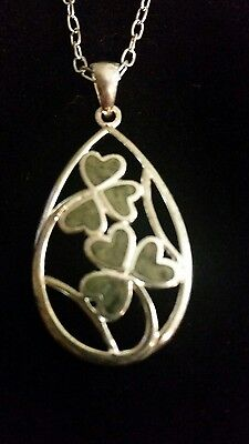 Connemara Marble Jewelry Delicate Pendant  And Chain With Green Marble Shamrocks