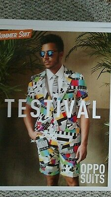 Oppo Suit Testival 80s Glam Shorts Suit Costume Outfit Neon Party Miami Vice NIB - Glam Costumes
