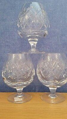 3 Royal Doulton/Webb Corbett Crystal Brandy glasses