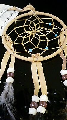 "Mae Stone Authentic Native American Navajo Buckskin Dream Catcher 4 "" #210A"