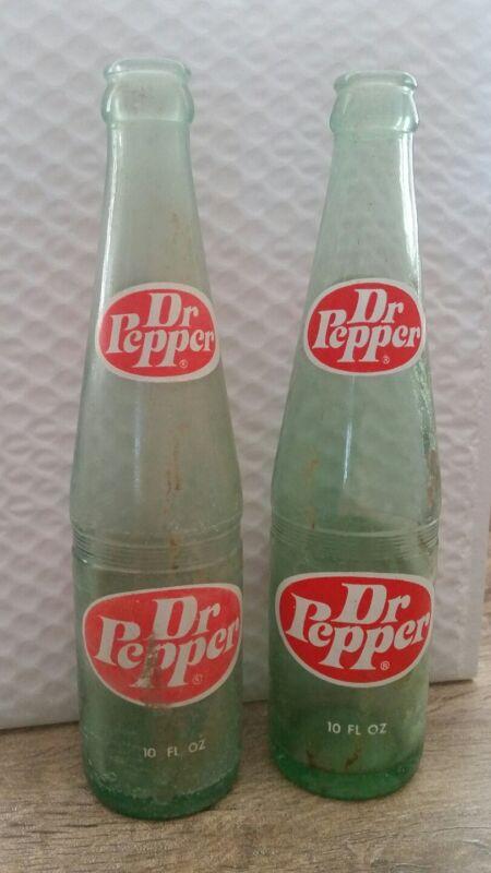 OLD VINTAGE DR. PEPPER BEVERAGE SODA POP GLASS BOTTLE 10 OZ - SET OF 2 -