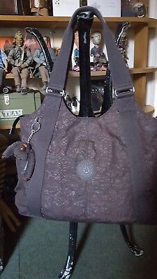 Kipling Handbag  Brown Tote Shopper Bryon Monkey Multi Compartments Bucket