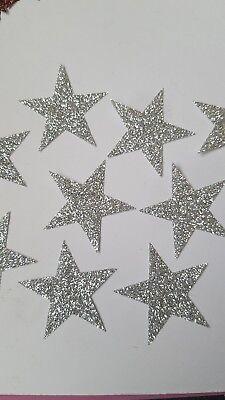 20 Hotfix iron on transfers silver glitter stars size 3.5cm halloween/costumes - 20 Star Halloween Costumes