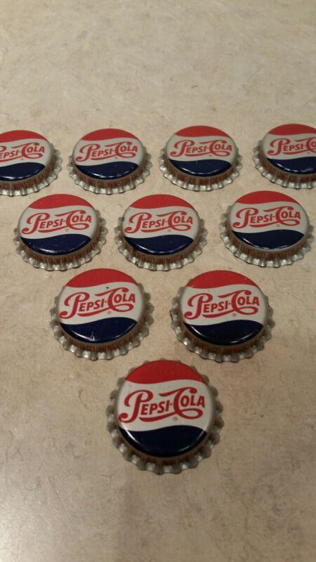10 Vintage Pepsi Cola Bottle Caps Cork Unused Mint