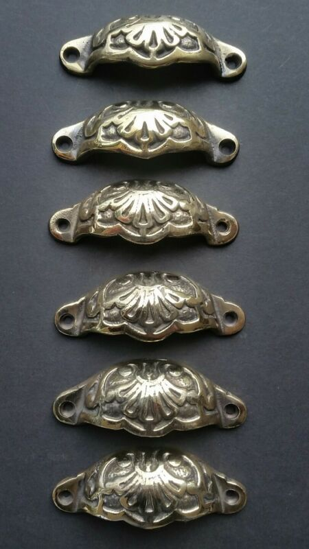 """6 Apothecary Drawer Bin Pull Handles POLISHED Brass Ant.Victorian Style 3""""c. #A2"""
