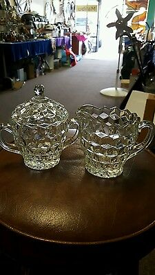 VINTAGE Crystal Creamer and Sugar Bowl Set with Lid Diamond Cut