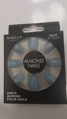 Make-Up Gallery Too Hot Blue Almond False Nails 24 Piece & Glue Party New