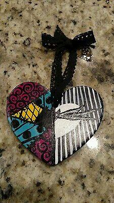 the nightmare before Christmas art handmade ceramic heart ornament jack/sally