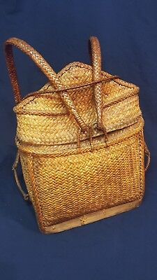 Authentic Vintage Hand Woven Rattan Pasiking Phillipine Backpack