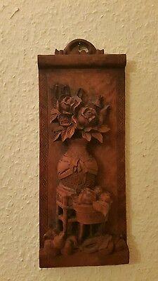 Asiatika Holzschnitzerei.Stilleben.Aus Hartholz.30 x 12 cm.