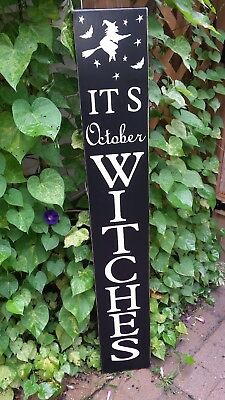 It's October Witches Porch Sign Large Rustic Distressed Wood Halloween Sign 48