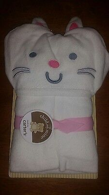 NWT CARTER'S CHILD OF MINE KITTY CAT Hooded Charcter towel terry wrap white