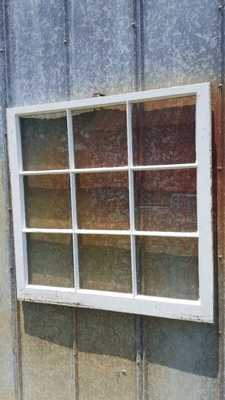 VINTAGE SASH ANTIQUE WOOD WINDOW PICTURE FRAME PINTEREST RUSTIC 9 PANE 34x34