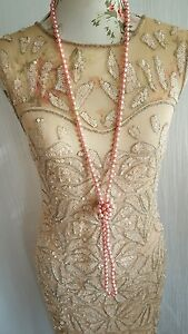 Vtg 1920,s style Downton Gatsby blush pink beaded wedding flapper dress 12