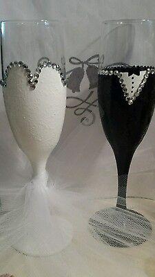 Wedding Bride and Groom Flutes Glassware Weddings Glass Barware Wedding Gifts](Bride And Groom Glasses)
