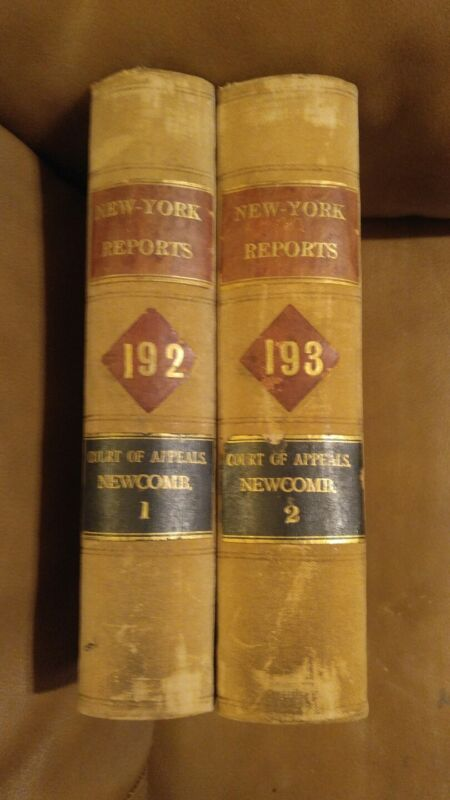 NEW YORK REPORTS COURT OF APPEALS STATE OF NY. 1908- 09 NEWCOMB 2 books