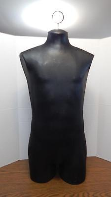 Solid Black Hard Plastic Torso Hanging Or Tabletop Shirt Mannequin