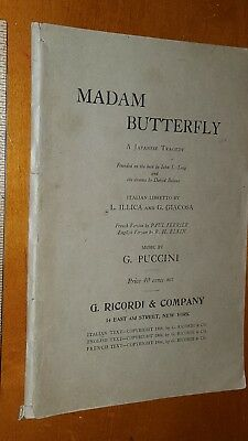 1906 MADAM BUTTERFLY OPERA PROGRAM COVER MUSIC by  G. PUCCINI RICORDI & CO.