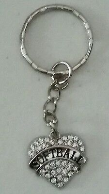"SOFTBALL HEART WITH FAUX CLEAR CRYSTALS KEYCHAIN - 2 3/4"" HIGH - SPORTS"