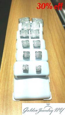 Solid Man 10K White Gold Micro-Pave Earrings Genuine Diamond (TCW) 0.10 - 1.00 ()